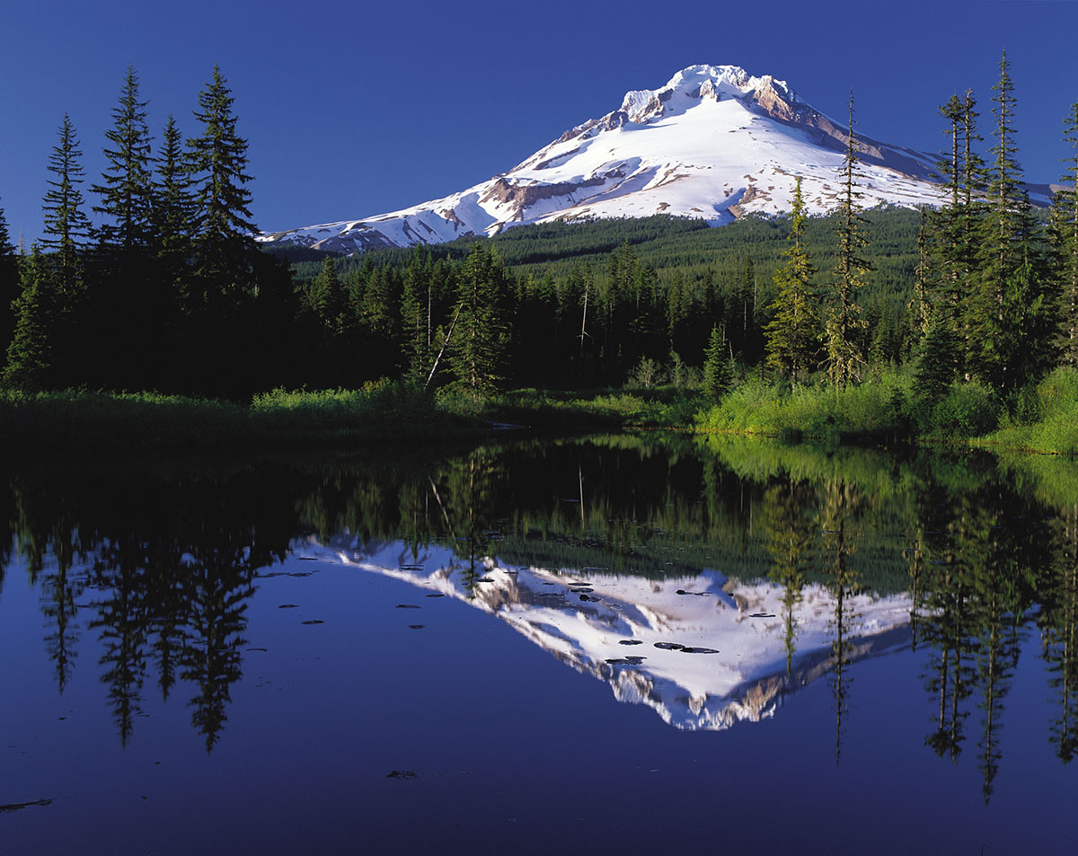 Mt. Hood and its reflection in Mirror Lake