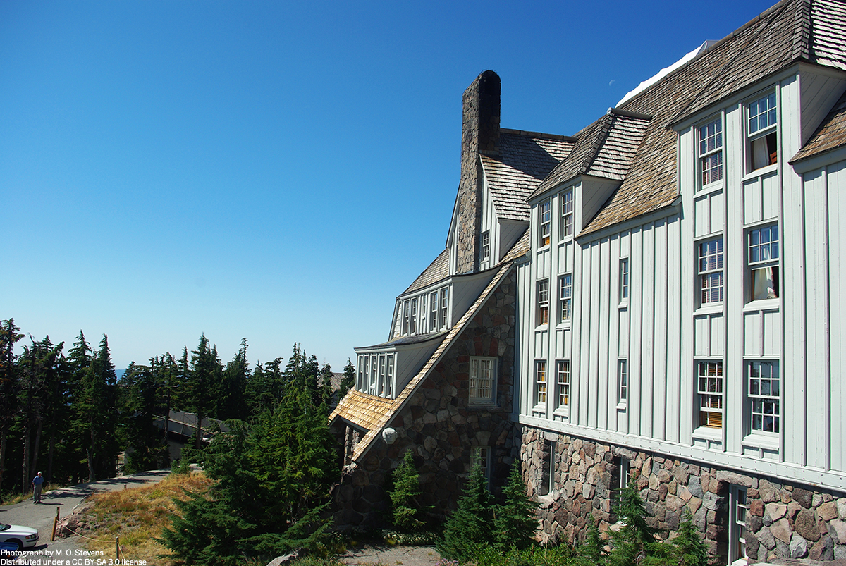 Timberline Lodge with blue sky behind